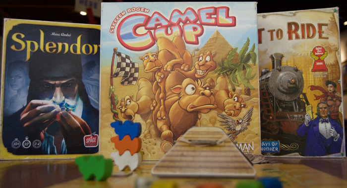 Splendor, Camel Up, and Ticket to Ride.